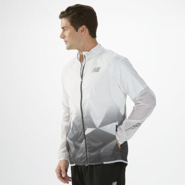 New Balance 4100 Men's Boylston Jacket - White, Magnet (MRJ4100WT)