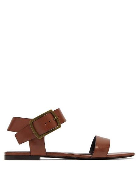 Saint Laurent - Oak Leather Buckle Sandals - Womens - Tan