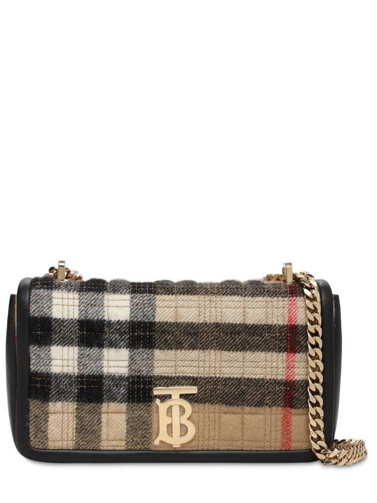 BURBERRY Sm Lola Check Cashmere Shoulder Bag in beige