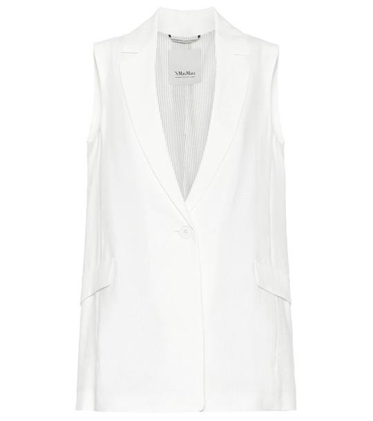 S Max Mara Hamburg linen-blend blazer in white