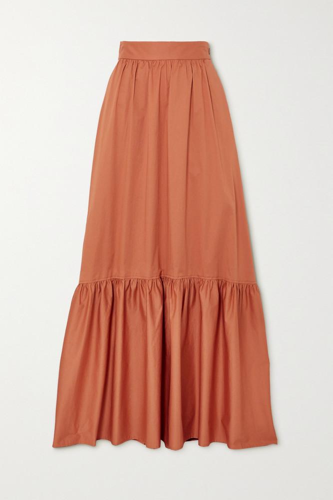 A.L.C. A.L.C. - A.l.c. X Petra Flannery Mikell Cotton-blend Poplin Maxi Skirt - Orange