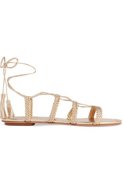 Aquazzura - Stromboli Braided Metallic Leather Sandals - Gold