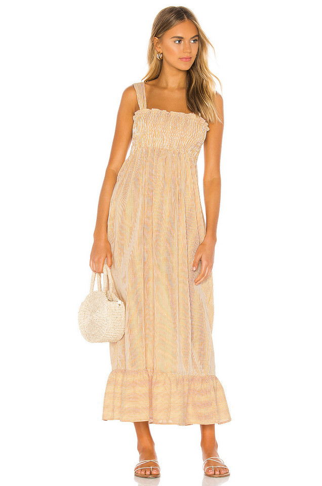 Indah Amici Smocked Maxi Dress in yellow