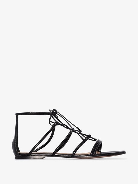 Gianvito Rossi black leather gladiator sandals