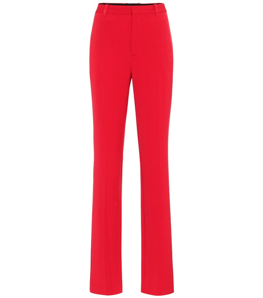 Balenciaga High-rise straight wool pants in red