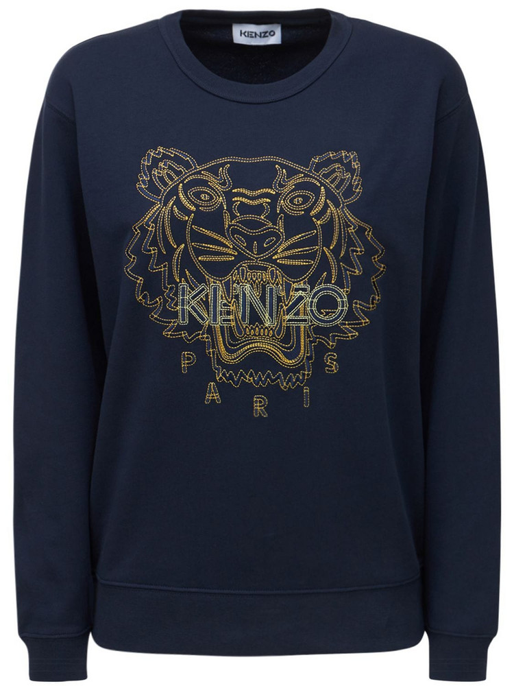 KENZO Embroidered Tiger Cotton Sweatshirt in blue