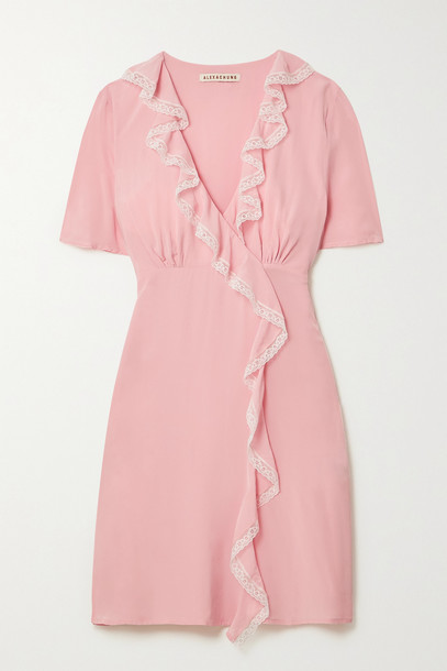 ALEXACHUNG - Sherily Ruffled Lace-trimmed Crepe Mini Dress - Pink