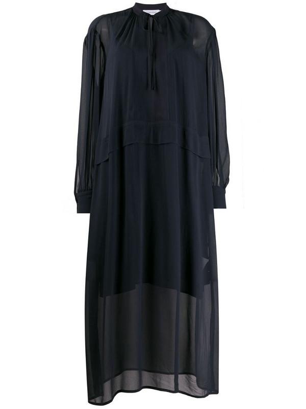 Calvin Klein drawstring fastened sheer shift dress in blue