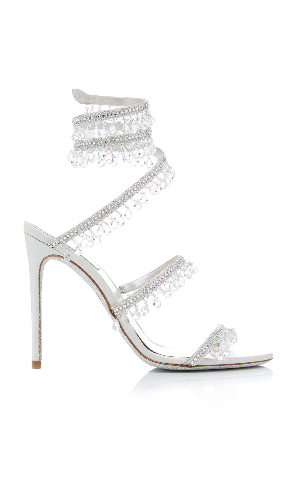 Rene Caovilla Exclusive Crystal-Embellished Sandal in white