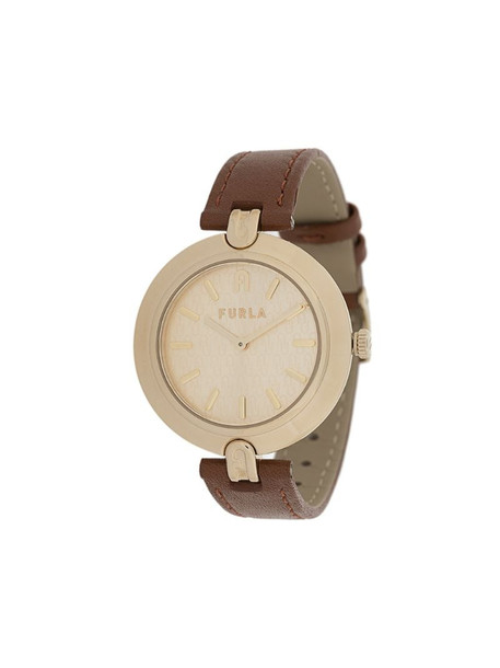 Furla round shape leather watch in brown