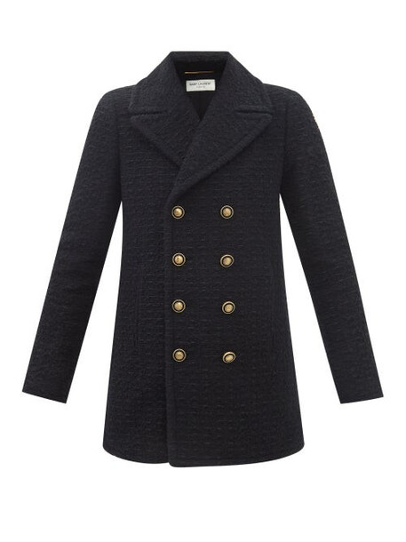 Saint Laurent - Double-breasted Wool-blend Tweed Pea Coat - Womens - Black