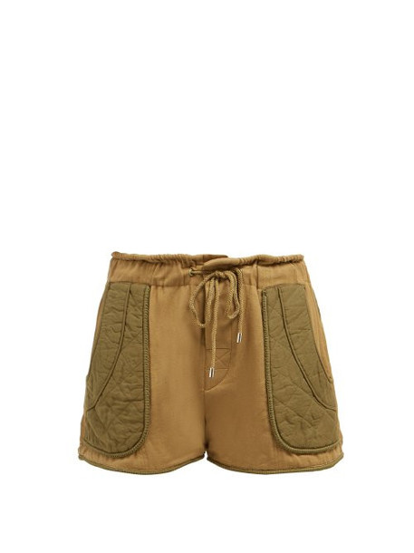 shorts quilted cotton khaki