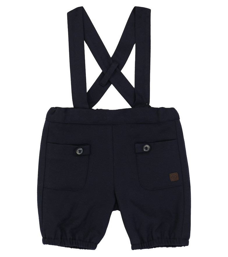 Tartine et Chocolat Baby twill pants with suspenders in blue