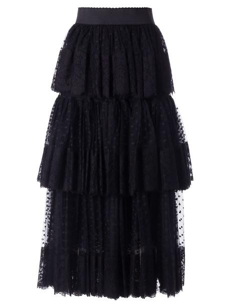 Dolce & Gabbana Layered Skirt in nero