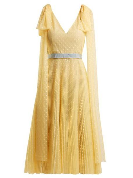 Luisa Beccaria - Polka Dot Jacquard Pleated Gown - Womens - Yellow