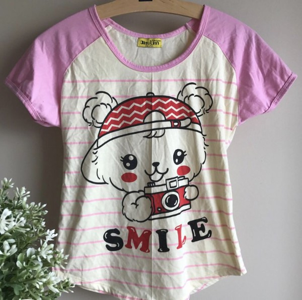 shirt pink kawaii bear camera fairy kei stripes cute