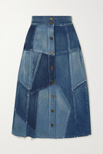 SAINT LAURENT - Patchwork Denim Midi Skirt - Blue