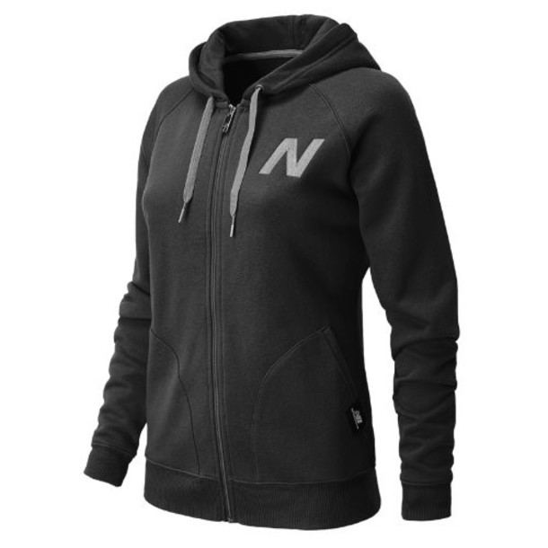 New Balance 4365 Women's Essentials Full Zip Hoodie - Black, Heather Grey (WEJ4365BK)