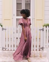 dress,maxi dress,flare,flat sandals,glamour,gal meets glam
