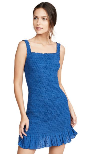 Valencia & Vine Ruched Mini Dress in blue