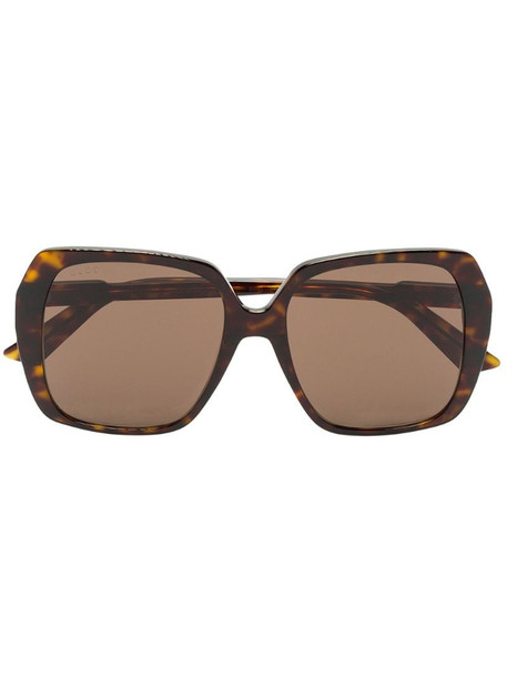 Gucci Eyewear oversize-frame sunglasses in brown
