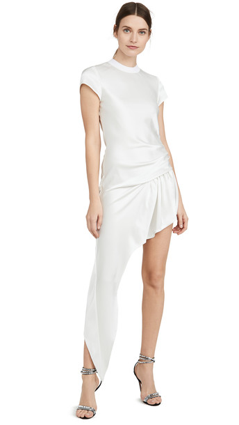 Alexander Wang Exposed Leg Short Sleeve Dress in white