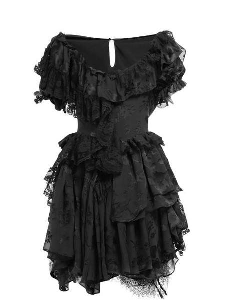 Preen By Thornton Bregazzi - Leslie Silk Blend Devoré Satin Mini Dress - Womens - Black
