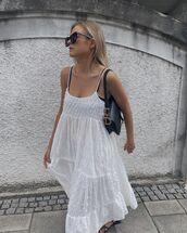 dress,white dress,maxi dress,lace dress,dior bag,black sandals
