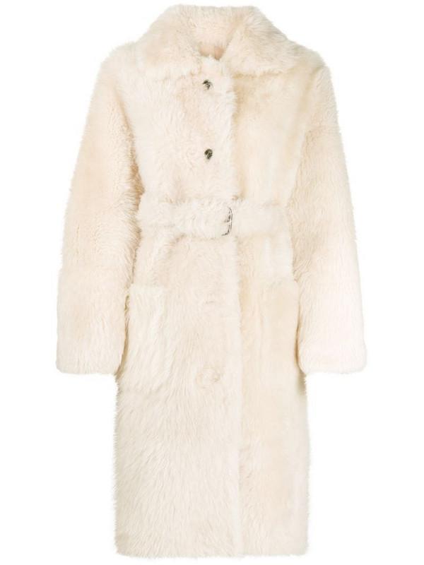 Liska belted shearling coat in neutrals