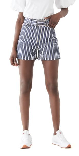 GANNI Mixed Stripe Denim Shorts in indigo