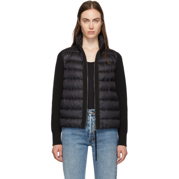 Moncler Back Down and Wool Knit High Neck Jacket in black