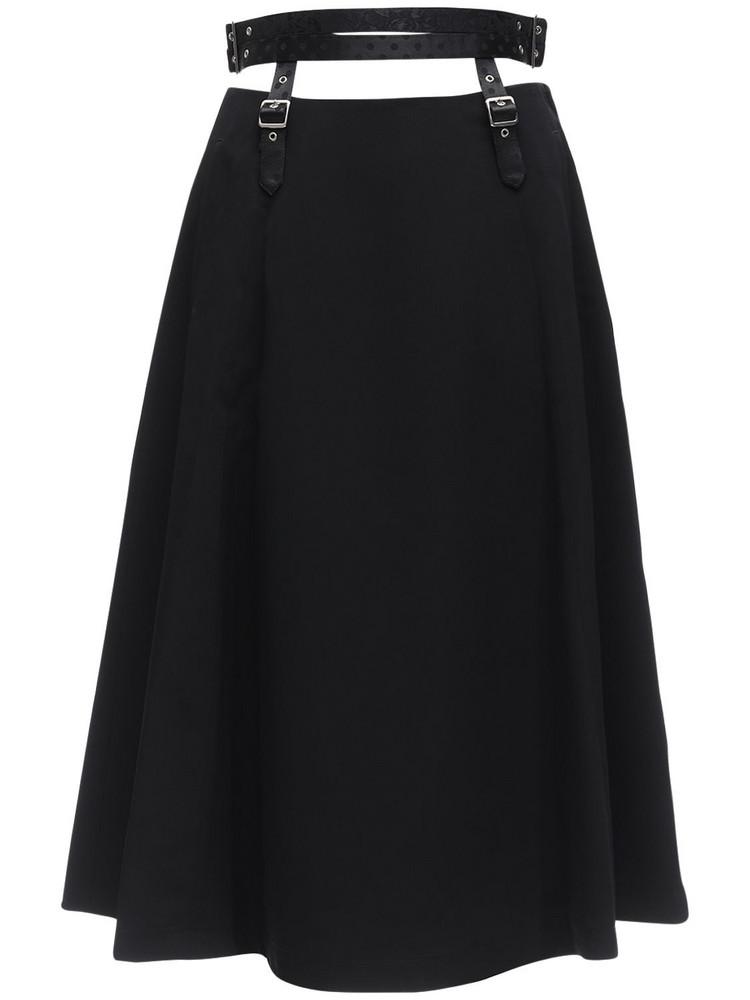 NOIR KEI NINOMIYA High Waist Satin Skirt W/ Belt in black