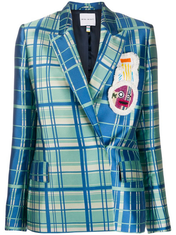 Mira Mikati double breasted check print blazer in blue
