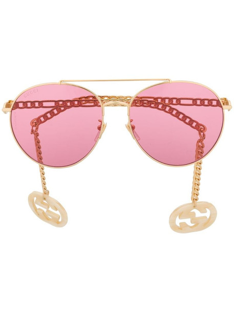 Gucci Eyewear detachable-charm round-frame sunglasses in gold
