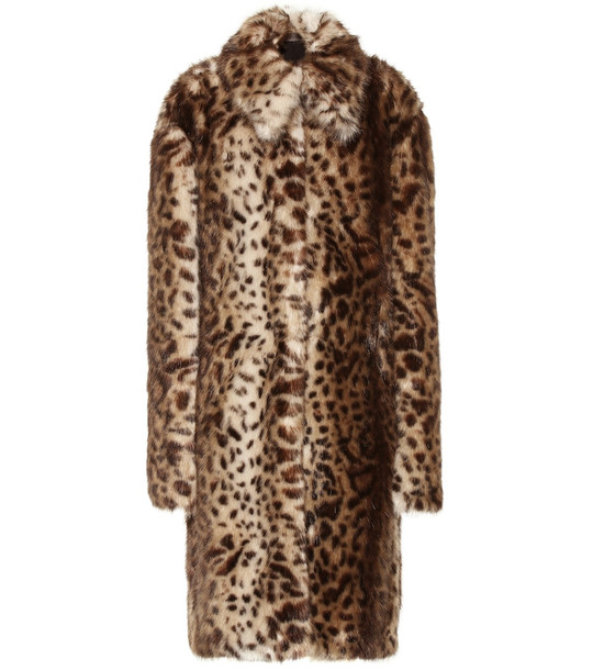 Rokh Leopard-print faux fur coat in brown