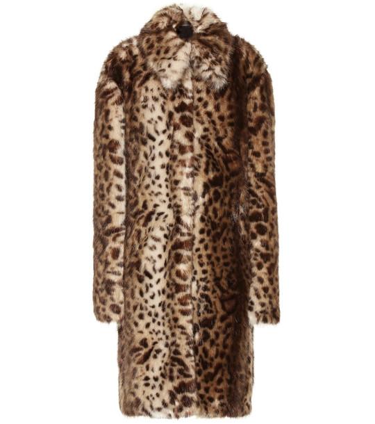 Rokh Leopard-print faux fur coat in brown