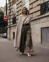 pants,wide-leg pants,high waisted pants,white sandals,grey sweater