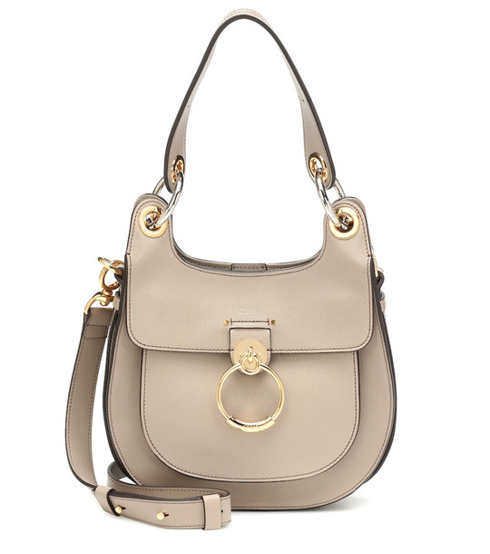 Chloé Tess Small leather shoulder bag in beige