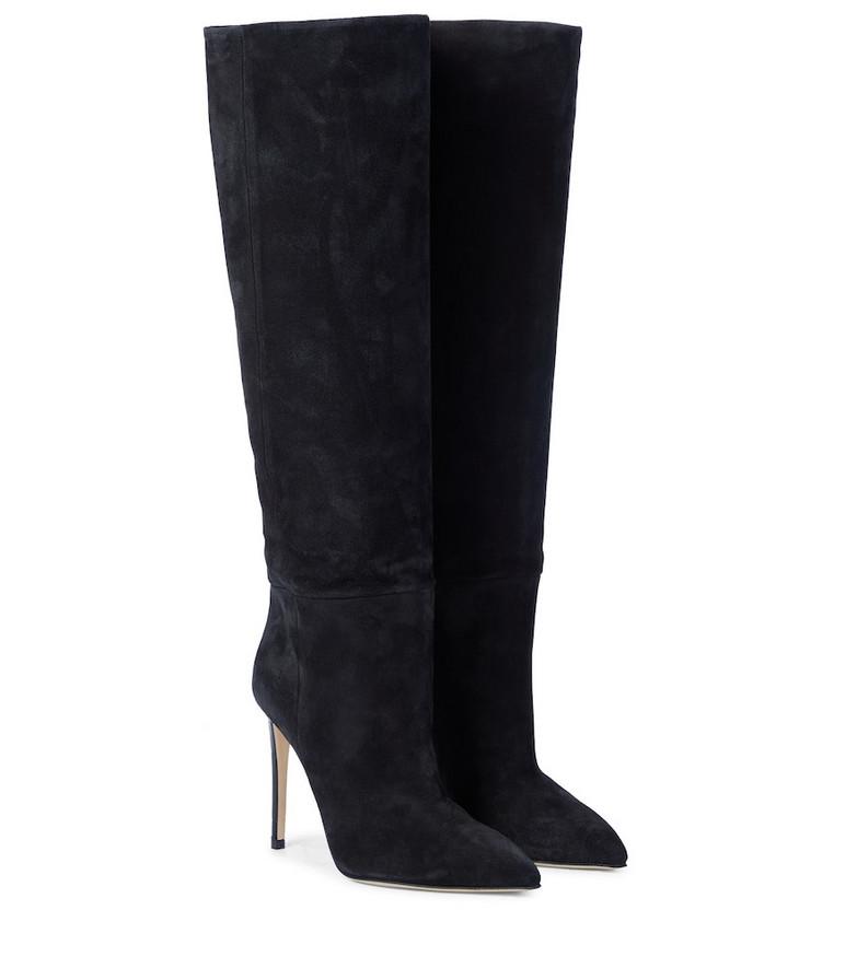 Paris Texas Suede knee-high boots in black