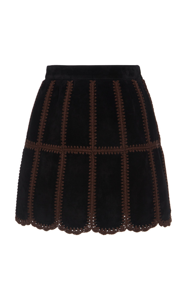 Miu Miu Patchwork Suede Mini Skirt Size: 38 in black