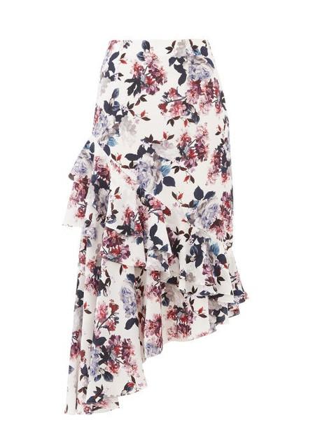Erdem - Antoinette Asymmetric Floral Silk-crepe Skirt - Womens - White Multi