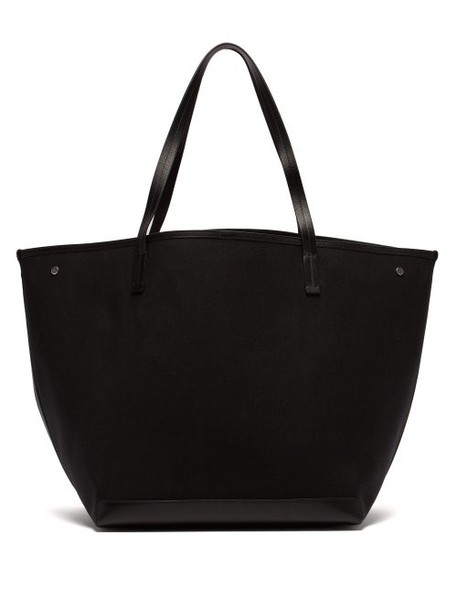 The Row - Park Leather Trimmed Canvas Tote - Womens - Black