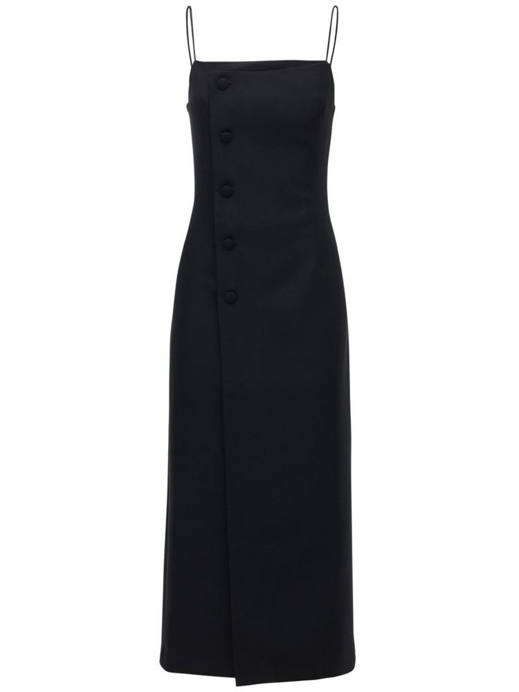 MATÉRIEL Fitted Wool Blend Midi Dress in black