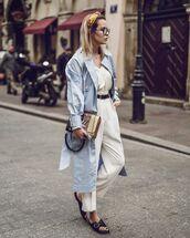 coat,trench coat,blue coat,long coat,slide shoes,bag,white pants,high waisted pants,belt,white top,tank top