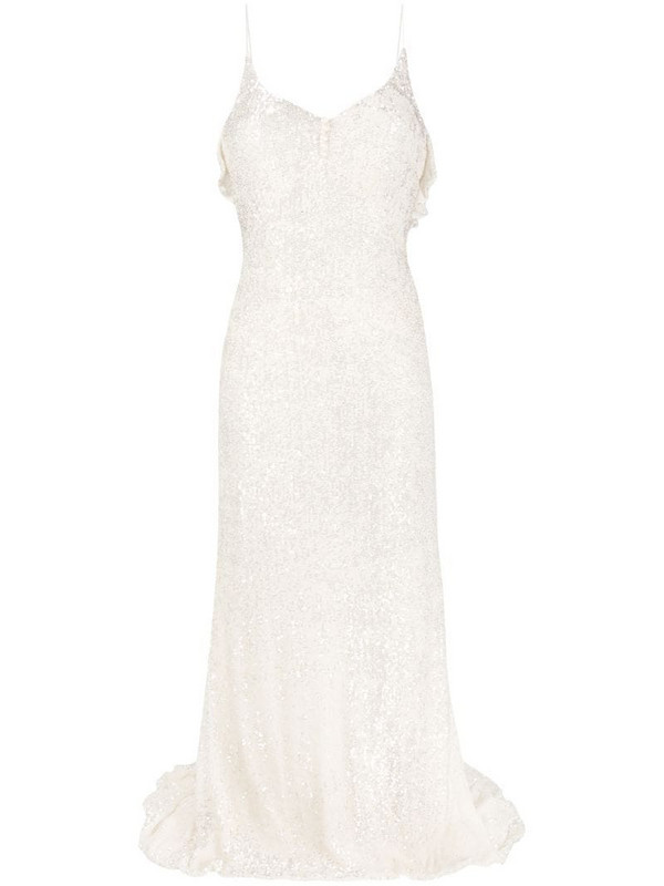 Parlor sequin-embellished evening gown in neutrals