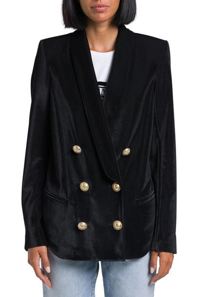 Balmain Piquet Velvet Pyjama Jacket in nero