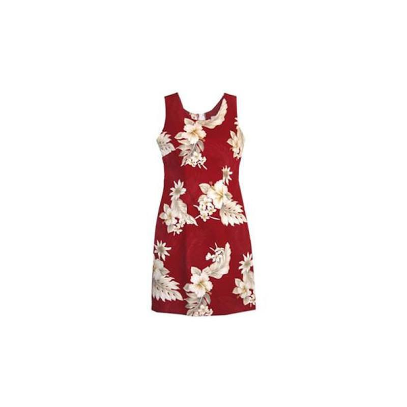 Chili Red Short Hawaiian Sheath Floral Dress