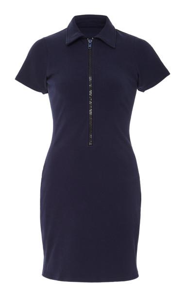 Solid & Striped Zip Rib-Knit Mini Dress Size: L in navy