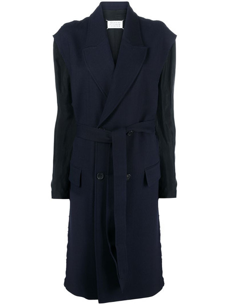 Maison Margiela peak-lapel double-breasted coat in blue
