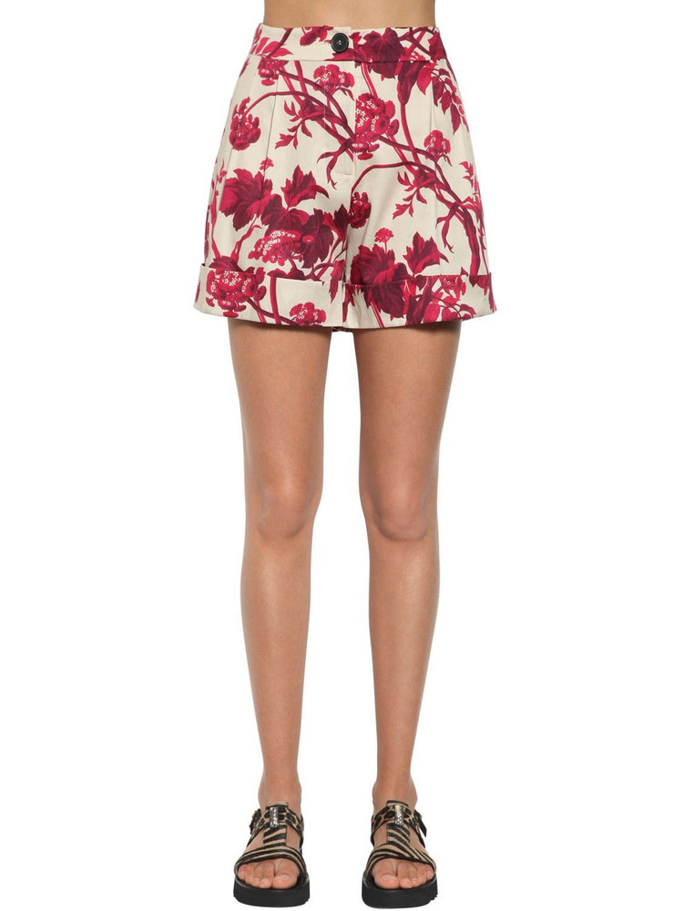 ANTONIO MARRAS Printed Cotton Blend Shorts in red / white